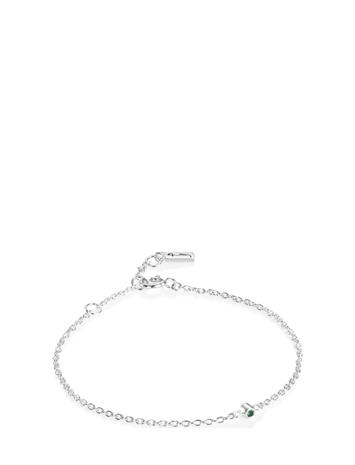 Efva Attling Micro Blink Bracelet - Green Emerald Accessories Jewellery Bracelets Chain Bracelets Hopea Efva Attling SILVER