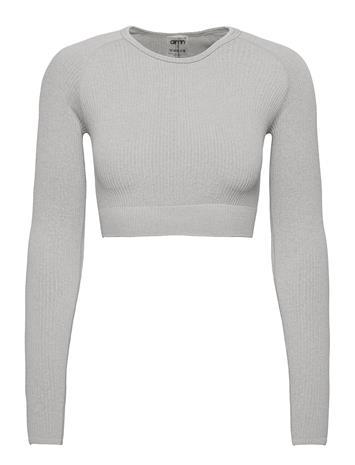 AIM'N Light Grey Melange Ribbed Crop Long Sleeve Crop Tops Harmaa AIM'N LIGHT GREY