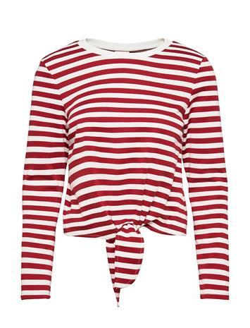 Vila Vitinny L/S Boat Neck Top/Su/Ka T-shirts & Tops Long-sleeved Punainen Vila SNOW WHITE