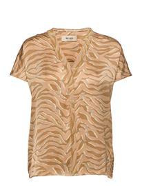MOS MOSH Ariana Zebra Blouse Blouses Short-sleeved Beige MOS MOSH INCENSE