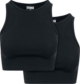 Urban Classics - Pre-Pack Ladies Cropped Rib Top 2-Pack - Toppi - Naiset - Musta