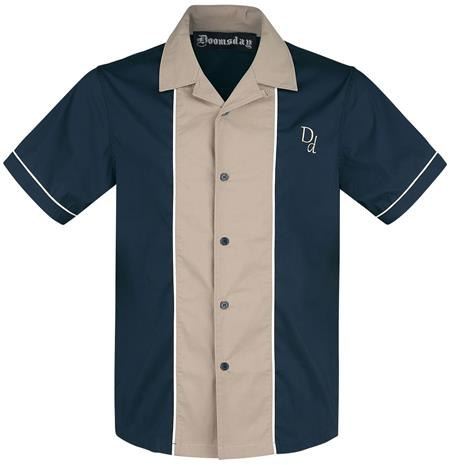 Doomsday - DD Bowling Shirt - Lyhythihainen kauluspaita - Miehet - Sininen beige