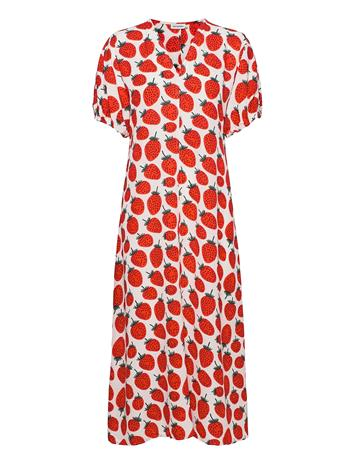 "Marimekko Lennellä"" Mansikka Dress Dresses Everyday Dresses Punainen Marimekko WHITE, RED, GREEN"