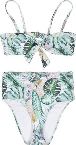 Urban Classics - Ladies High Waist Leaf Pattern Bikini - Bikinisetti - Naiset - Vihreä valkoinen