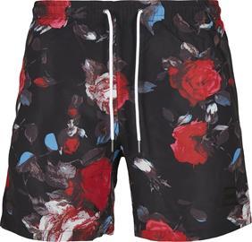 Urban Classics - Black Rose AOP Swim Shorts - Uimashortsit - Miehet - Musta