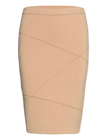 Vila Visif New Pencil Skirt Polvipituinen Hame Beige Vila NOMAD