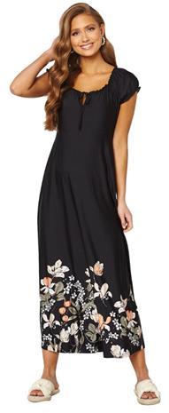 Happy Holly naisten mekko TESSIE, musta-kukkakuvio 48/50