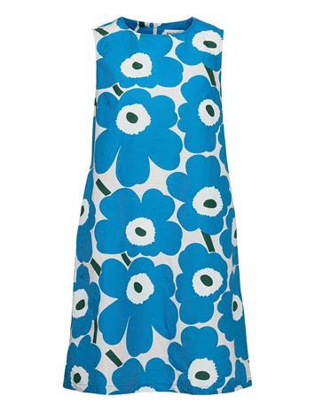 Marimekko Laineet Pieni Unikko 2 Dress Polvipituinen Mekko Sininen Marimekko BLUE, BLACK, OFF-WHITE