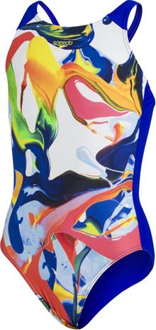speedo Digital Placement Pulseback Swimsuit Girls, monivärinen/sininen