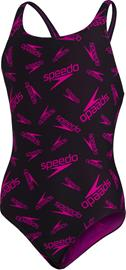 speedo Boom Logo Medalist Swimsuit Girls, musta/vaaleanpunainen