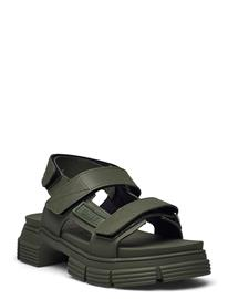 Ganni Recycled Rubber Shoes Summer Shoes Flat Sandals Vihreä Ganni KALAMATA
