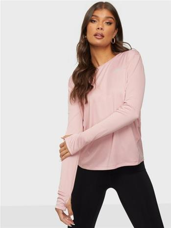 Nike W Nk Miler Top Ls Vaaleanpunainen/Hopea