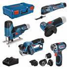 Bosch Akkukonesarja (0615A0017D) 12V 2x2,0Ah 1x3,0Ah XL-BOXX, GSR + GOP + GHO + GWS + GST