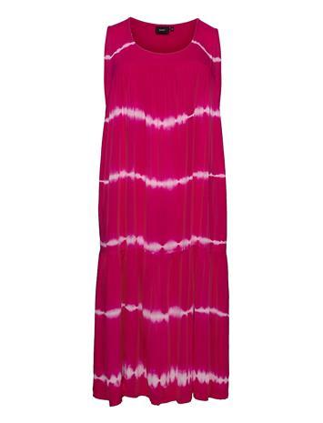 Zizzi Mliba, S/L, Midi Dress Polvipituinen Mekko Vaaleanpunainen Zizzi PINK