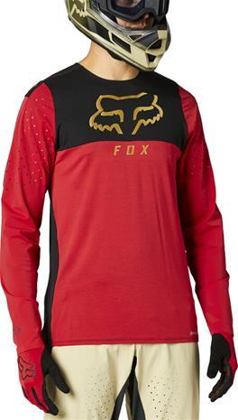 Fox Flexair Delta Pitkähihainen Jersey Pyöräilypaita Miehet, punainen/musta
