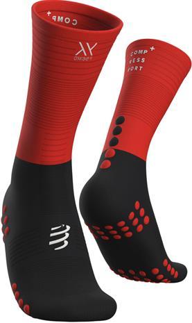 Compressport Mid Kompressiosukat, musta/punainen, Miesten housut ja muut alaosat