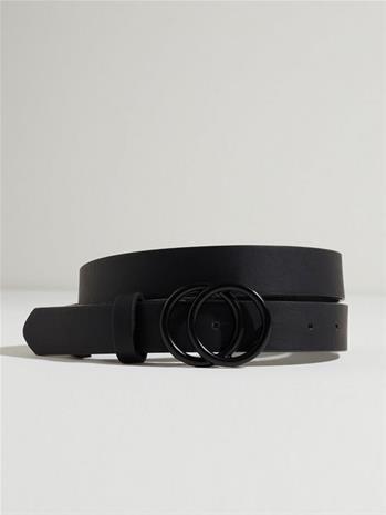 Only Onlrasmi Faux Leather Jeans Belt No Black Black/ Shiny Silver Buckle