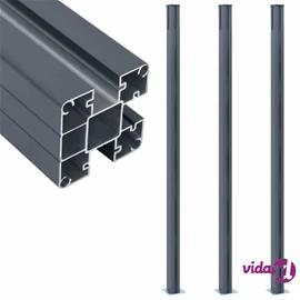vidaXL Aitatolpat 3 kpl tummanharmaa 185 cm alumiini