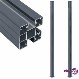 vidaXL Aitatolpat 2 kpl tummanharmaa 185 cm alumiini