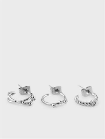 Pieces Pctisla Hoop Earrings 3-Pack Silver Colour
