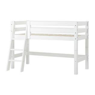Hoppekids PREMIUM puolikorkea sänky 70x160cm sisältäen kaltevat portaat, valkoinen