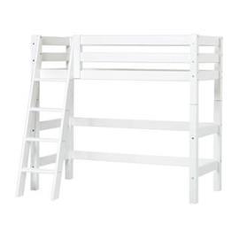 Hoppekids PREMIUM keskikorkea sänky 70x160 cm, kaltevat portaat, valkoinen
