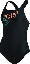 speedo Retro Logo Medalist Swimsuit Women, musta