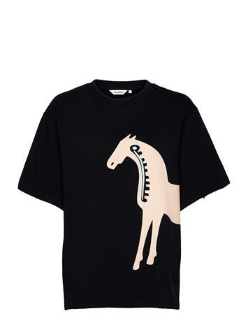 Marimekko Helmihopea Musta Tamma Shirt T-shirts & Tops Short-sleeved Musta Marimekko BLACK, LIGHT BEIGE, LIGHT BLUE