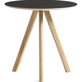 Hay CPH 20 Sivupöytä ä˜50x49 cm, Vesipohjalakattu Tammi / Musta Linoleumi