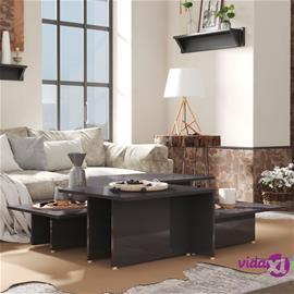 vidaXL Sohvapöydät 2 kpl korkeakiilto harmaa 111,5x50x33 cm lastulevy
