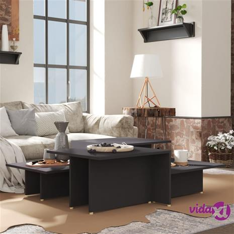 vidaXL Sohvapöydät 2 kpl harmaa 111,5x50x33 cm lastulevy