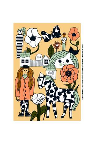 Marimekko Marikylä juliste 50 x 70 cm, beige - vihreä - oranssi