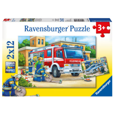 Ravensburger Puzzle 2x12 - Poliisi ja palokunta