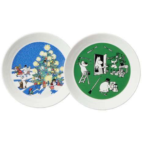 Arabia Moomin Plates 2-pack, Drawing & Christmas