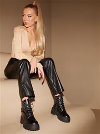 Missguided Faux Leather Split Hem Trousers