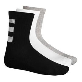 adidas Sukat 3-Stripes 3-pack - Valkoinen/Musta/Harmaa