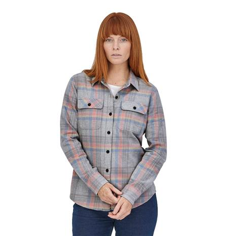 Patagonia Women's L/S Organic Cotton MW Fjord Flannel Shirt, Currents: Tailored Grey / L