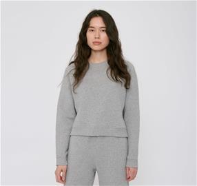 Organic Basics naisten Mid-Weight Cropped collegepaita - Luomupuuvillaa, Grey Melange / S