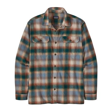 Patagonia Men's Long-sleeved Fjord Flannel Shirt - Organic Cotton, Northern Lights Plaid: Dark Borealis Green / M