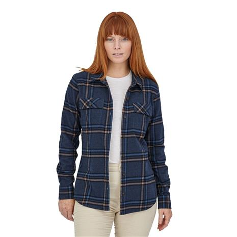 Patagonia Women's L/S Organic Cotton MW Fjord Flannel Shirt, Tundra: New Navy / S