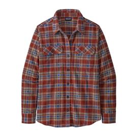 Patagonia Women's L/S Organic Cotton MW Fjord Flannel Shirt, Ice Fjord: Fox Red / XL