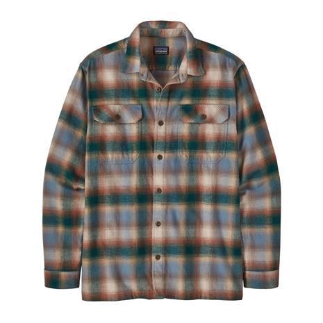 Patagonia Men's Long-sleeved Fjord Flannel Shirt - Organic Cotton, Northern Lights Plaid: Dark Borealis Green / S