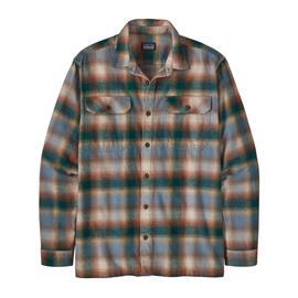 Patagonia Men's Long-sleeved Fjord Flannel Shirt - Organic Cotton, Northern Lights Plaid: Dark Borealis Green / L