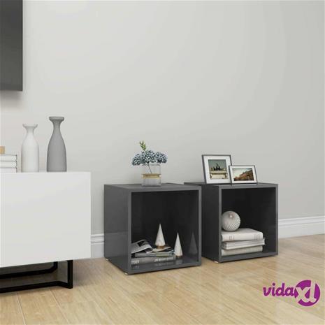 vidaXL TV-tasot 2 kpl korkeakiilto harmaa 37x35x37 cm lastulevy
