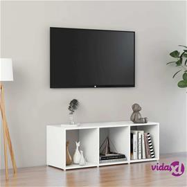 vidaXL TV-taso valkoinen 107x35x37 cm lastulevy