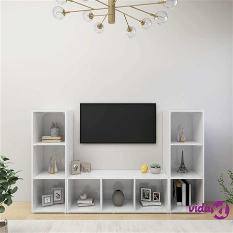 vidaXL TV-tasot 3 kpl valkoinen 107x35x37 cm lastulevy