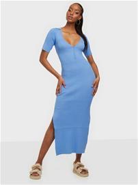 Bardot Collar Knit Dress Sininen