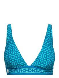 Michael Kors Swimwear Geo Print Over The Shoulder Bikini Top Swimwear Bikinis Bikini Tops Wired Bikinitops Sininen Michael Kors Swimwear CYAN BLUE