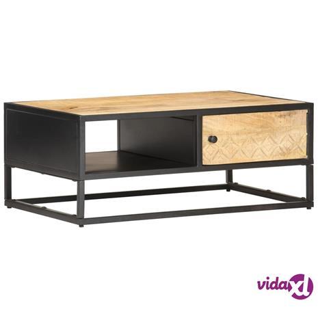 vidaXL Sohvapöytä kaiverretulla ovella 90x55x36 cm karkea mangopuu