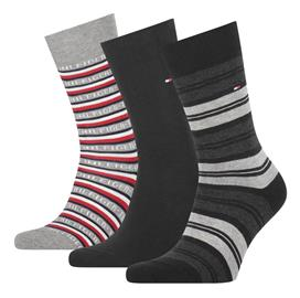 Tommy Hilfiger miesten sukat 3 paria lahjapakkaus, musta-harmaa 39-42